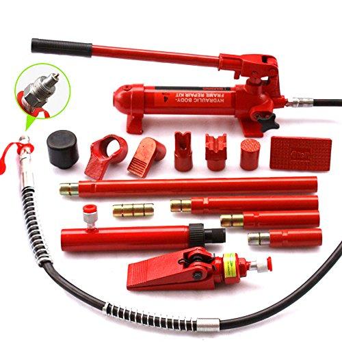 F2C 4 Ton Capacity Porta Power Hydraulic Bottle Jack ram Pump Auto Body Frame Repair Tool Kit Power Set Auto Tool for Automotive, Truck, Farm and Heavy Equipment/Construction (4Ton Set) by F2C (Image #2)