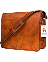 Urban Leather Handmade Over The Shoulder Laptop Bag for Men Women Boys Girls, With Shock Proof Macbook Padding...