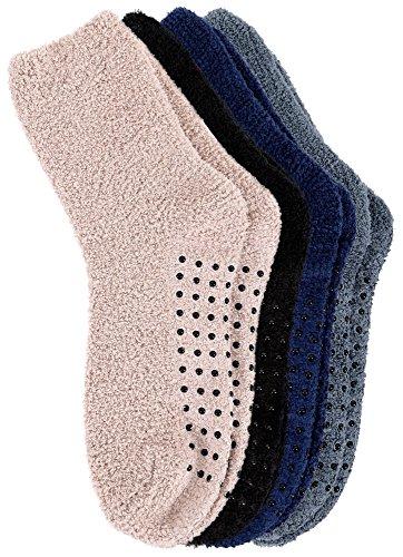 Burklett Adult Men's Thick Warm Indoor Anti-skid Winter Slipper Socks 4 Pairs