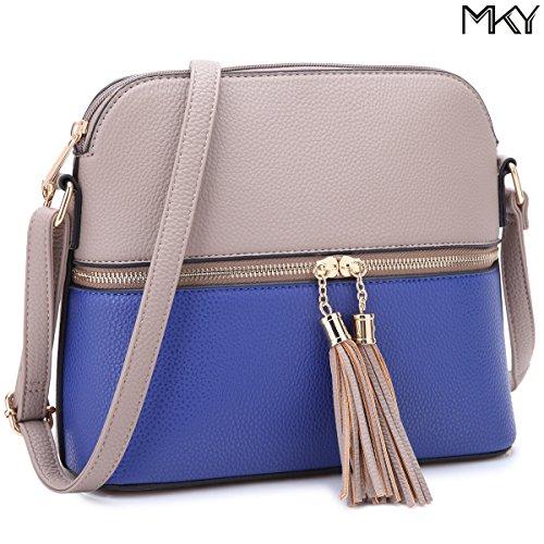 Capacity Ladies 660 Blue Purse grey Bag Tassel PU Crossbody Medium Shoulder Fashion Leather Large wF1qzwa
