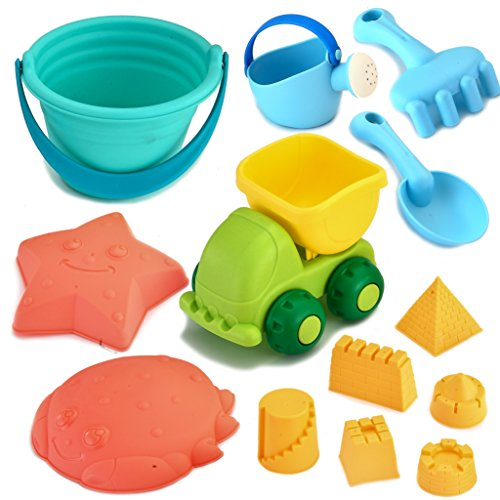 Joyin Toy Beach Sand Toy Sandbox Accessories Including Mini Dumper, Beach Bucket, Watering Can, Shovel and Rake, Models and Molds