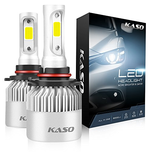 9005 LED Headlight Bulbs, 3 Years Warranty, KASO RX2 All in One Conversion Kit HB3 8000Lm 72W/Set 6500K Cool White Highly Waterproof (HB3 9005)
