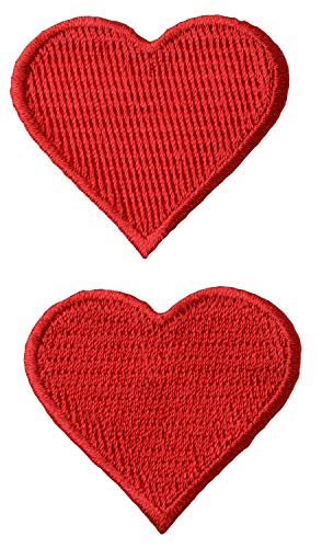 Simplicity Red Heart Applique Clothing Sew On Patches, 2pc, 1.75'' x 1.75''
