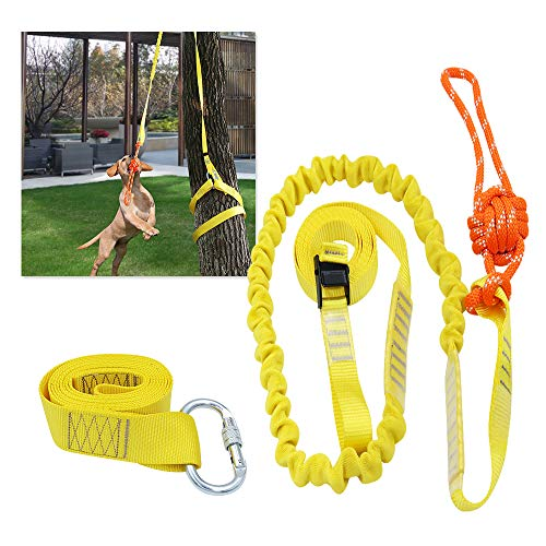 XiaZ Retractable Interactive Dog Toy, Rope Tug of War Toys for Medium or Large Dogs, Outdoor Hanging Exercise Play Tug War, Extra Durable, Safe (Toys Tug Rope Bungee)