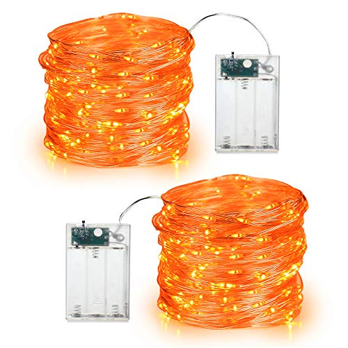 BrizLabs Orange Halloween Lights, 19.47ft 60 LED Orange Fairy Lights String, 2 Modes Battery Halloween String Lights…