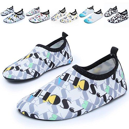 Barerun Kids Quick-Dry Wasserschuhe Leichte Aqua Socken für Beach Pool Surf Yoga Übung Weiß