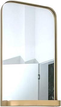 Espejo de maquillaje Baño Espejo cinturón Estante Estilo Simple Maquillaje Espejo Espejo de Almacenamiento Multifuncional Montaje en Pared Espejo Adecuado para hoteles Dormitorio Cafe Bar: Amazon.es: Hogar