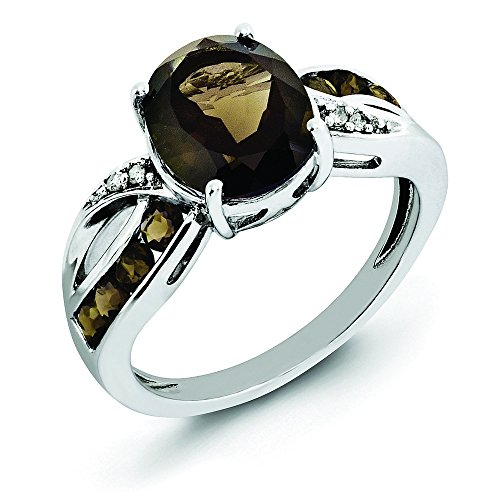 Sterling Silver Diamond and Smokey Quartz Ring - Size 6