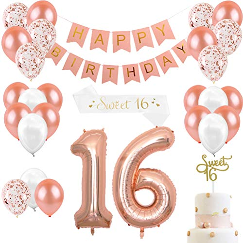(JOYMEMO 16th Birthday Decorations for Girls Sweet 16 Cake Topper and Satin Sash, Rose Gold Number 16 Balloons, Confetti Balloons and Happy Birthday Banner for Sixteen Party Supplies)