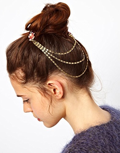 Tone Crystal Feather Hair Brooch Clip Pin Cuff Chain Head Band Jewelry Headpiece
