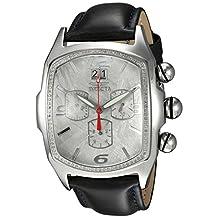 Invicta Men's Lupah Diamond Black Alligator Leather Band Steel Case Quartz Grey Dial Analog Watch 24341