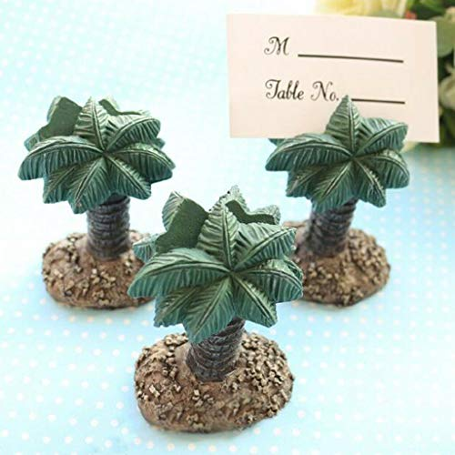 BROSCO Hawaii Beach Palm Tree Elephant Name Place Card Holder Wedding Party Table Decor | Design - Palm Tree