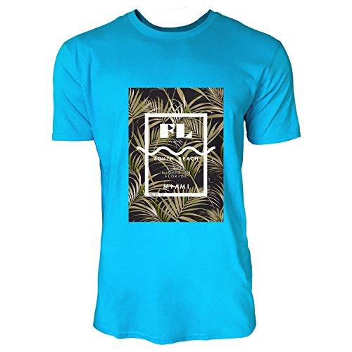SINUS ART® Palmen mit Florida South Beach Aufschrift Herren T-Shirts in Karibik blau Cooles Fun Shirt mit tollen Aufdruck