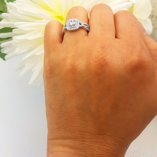 1.40 Carat (Ctw) 10K White Gold Round Cut Cubic Zirconia Ladies Halo Engagement Ring Set (Size 6) by DazzlingRock Collection (Image #5)