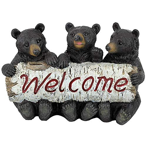 Statue Sign (Design Toscano Black Bear Cubs Welcome Statue)