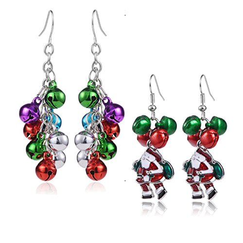 - Christmas Jingle Bell Earrings - 2 Pairs Christmas Earring Set Costume Jewelry Gift for Women Girls Cute Festive Xmas Santa Clause Drop Dangle Earrings Festive Holiday Birthday Party Anniversary Gift