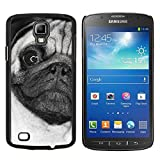 # Cellphone Hard Case PC Protective Cover Shell Case forSamsung Galaxy S4 Active i9295 # Pug Weird Black White Face Close Dog # Gift Phone Case Housing #