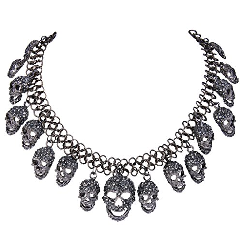 EVER FAITH Women's Austrian Crystal Halloween Luxury Skulls Statement Necklace Black -