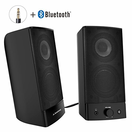 Avantree Desktop Bluetooth Computer Speakers, Wireless & Wired 2-in-1, Superb Stereo Audio, AC Powered 3.5mm / RCA Multimedia External Speakers for Laptop, PC, Mac, TV - SP750 [2 Year Warranty] (Desktop Wireless Speaker)