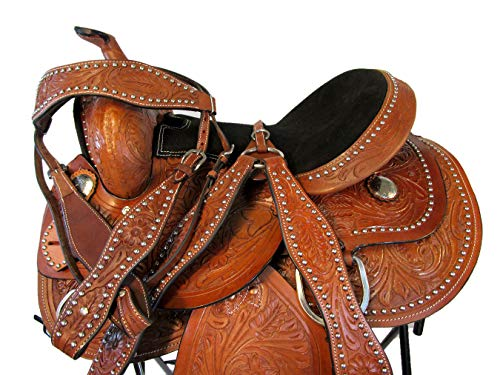 (14 15 16 Silver Studded Tooled Leather Horse Pleasure Trail Barrel Racing Western Saddle (15 Inch))