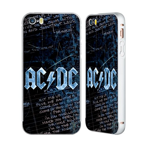 Officiel AC/DC ACDC Paroles Logo Argent Étui Coque Aluminium Bumper Slider pour Apple iPhone 5 / 5s / SE