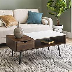Living Room Walker Edison Montclair Mid Century Modern Faux Marble Top 1 Drawer Coffee Table, 42 Inch, Dark Walnut modern coffee tables