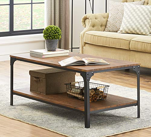 O&K Furniture Industrial Rectangular Coffee Table with Stora