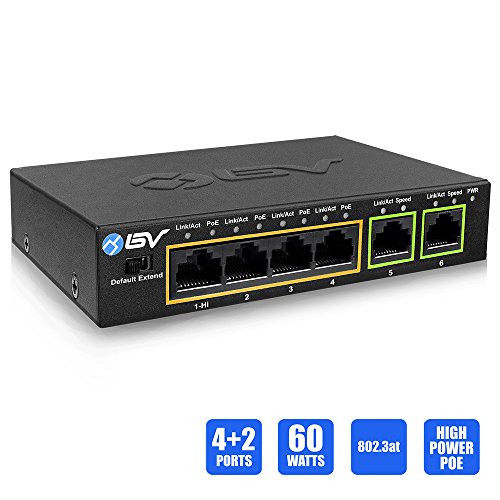 BV-Tech 4 Port PoE+ Switch with 2 Ethernet Uplink and Extend Function – 60W – 802.3at + 1 High Power PoE Port by BV-Tech
