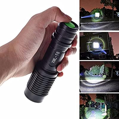 Perman 4000 Lumens 5 Modes Zoomable CREE XML T6 LED Police Flashlight Lamp Light Torch Waterproof Black