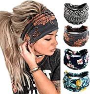 Headwraps Hair Bands Headwear Fit All Head Sizes for Yoga, Workout, Sports, Running 4Pcs