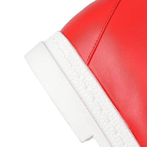 Allhqfashion Womens Low-top Stringate Basse In Stoffa Tacco Basso A Punta Chiusa Rosso