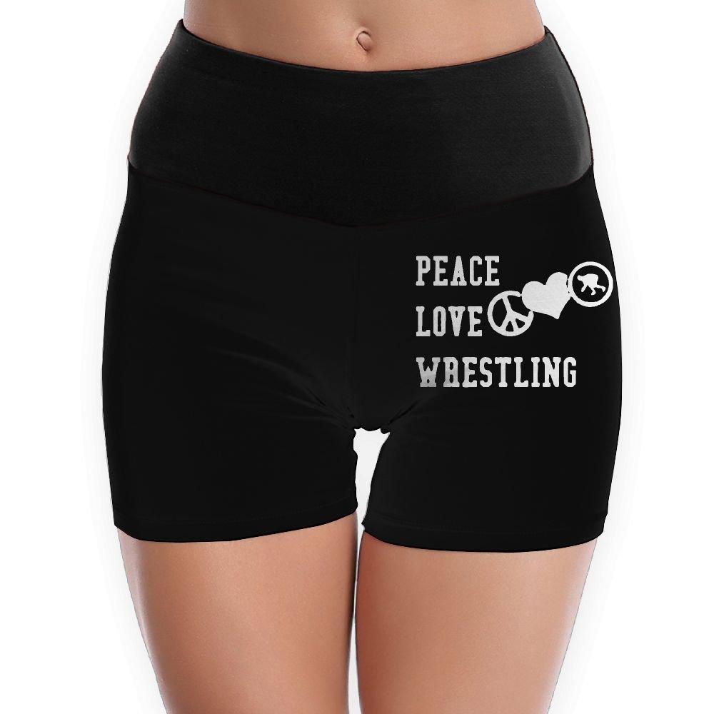 Peace Love Wrestling Womens High Waist Yoga Shorts Sport Workout Running Shorts Underwear