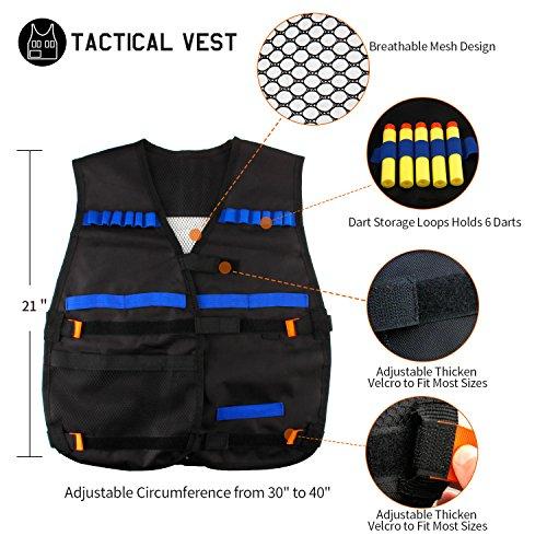 Elongdi Kids Tactical Vest Kit for Nerf Guns N-Strike Elite Series, 50 Refill Darts + 3 Reload Clips + 2 Hand Wrist Band + Protective Glasses + 2 Tactical Mask Tactical Vest for N-Strike Elite Series
