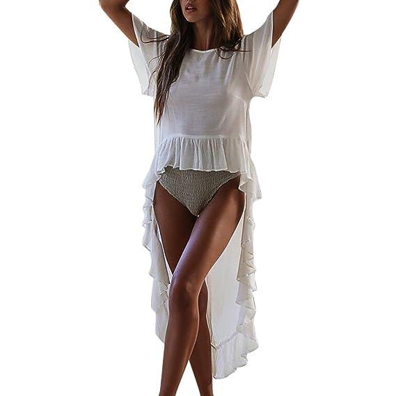 0f7c90ac8d82 Qingsiy 2019 Blusa para la Playa Largo Bohemio Camiseta Estampado ...