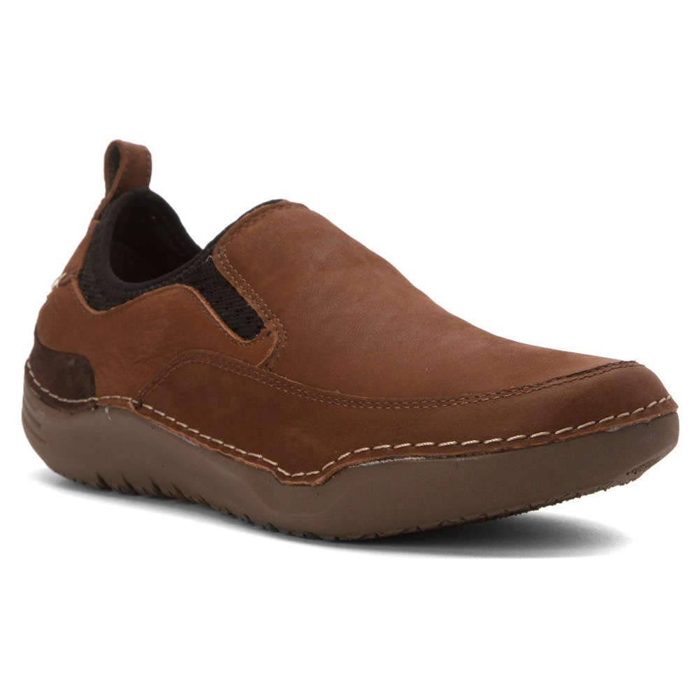 Hush Puppies Men's Crofton Method Slip-On Loafer, Brown Leather, 7.5 M US