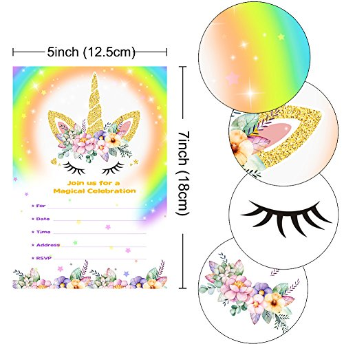 Aytai 20pcs Rainbow Unicorn Birthday Invitations with Envelopes + Thank You Tags, Party Invitation Cards for Kids Birthday Baby Shower Unicorn Party Supplies (Floral) by Aytai (Image #1)