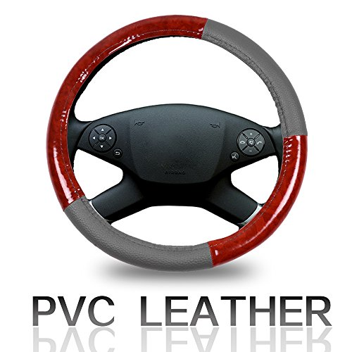 ECCPP Steering Wheel Cover 15 Inch Universal Leather Car Steering Wheel Cover - Grey and Brown Wood Grain ()