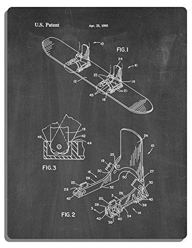 "Plateless Snowboard Binding Device Patent Art Metal Print Chalkboard (16"" x 20"")"