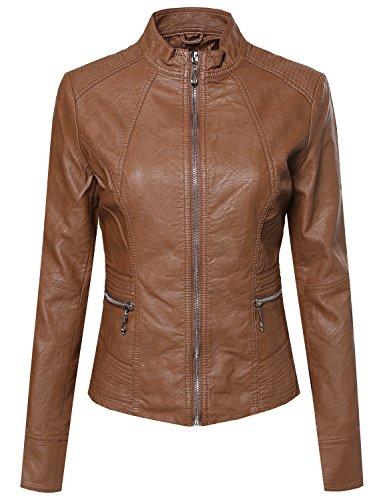 Basic Moto Rider Faux Leather Zippered Jacket Camel - Jacket Leather Camel