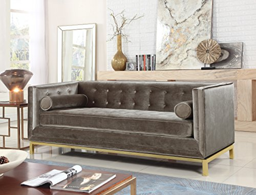 Iconic Home Dafna Club Sofa Sleek Elegant Tufted Velvet Plush Cushion Brass Finished Stainless Steel Brushed Metal Frame Couch, Modern Contemporary, Taupe