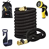 Garden Hose 50ft Kink-Free with 9-Way Nozzle, Ahlisen 2017 ALL NEW Expandable Garden Hose 50ft with Solid Brass End, Triple Layer Latex Core, Extra Strength Fabric + Free Hose Holder & Storage Sack