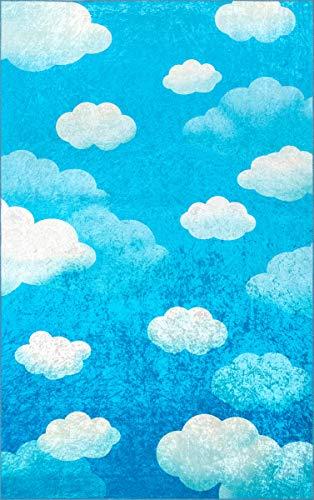 nuLOOM Fluffy Clouds Kids Rug, 5' x 7', Blue