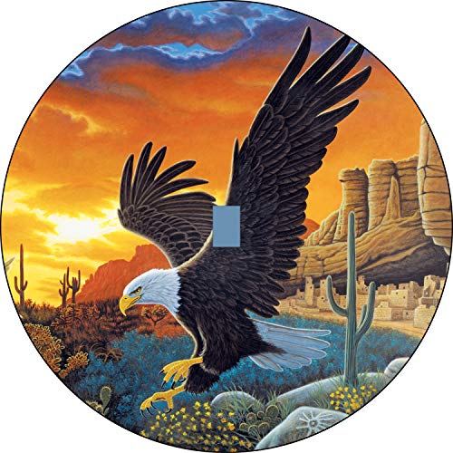 Sky Messenger Eagle Desert Sunset Spare tire Cover Jeep jL JLU with Back up Camera Opening 245/75r17