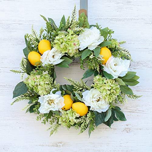Darby Creek Trading Faux Lemon, Green Hydrangea, White Peony Spring Summer Front Door Wreath ()
