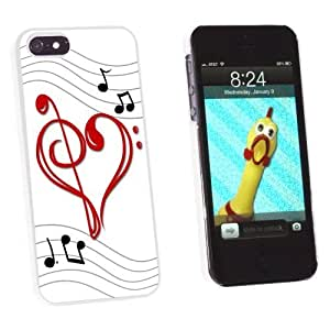 Graphics and More Music Heart - Love Treble Bass Clef Notes Staff Snap-On Hard Protective Case for Apple iPhone 5 5s - Non-Retail Packaging - White