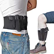 Bundle of Belly Band + Ankle Holster, Concealed Carry with Magazine Pocket/Pouch for Women Men Fits Glock, Rug