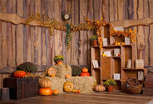 CSFOTO 6x4ft Background for Rural Interior Autumn Decor Photography Backdrop Hay Bale Haystack Basket Simple Yellow Leaves Flower Wood House Holiday Fall Countryside Studio Props Wallpaper