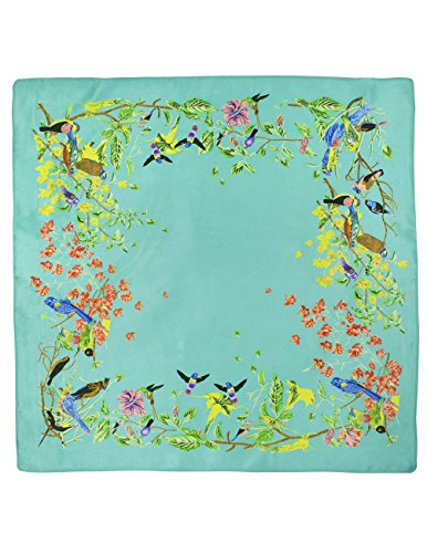 (Dahlia Women's 100% Square Silk Scarf - Birds Among Blossom Neckerchief -)