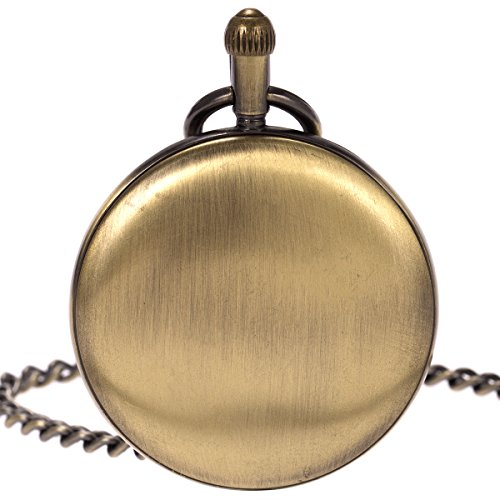 Skeleton Pocket Watch - Horizontal Open Face Phases Moon Sun 24-Hour Coper Chain by ManChDa (Image #4)'