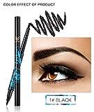 Brand 5 Color Double-End 2 In 1 Eyebrow Pencil + Black Liquid Eye Lliner Pen Makeup Waterproof Long Lasting Cosmetics 01 Black